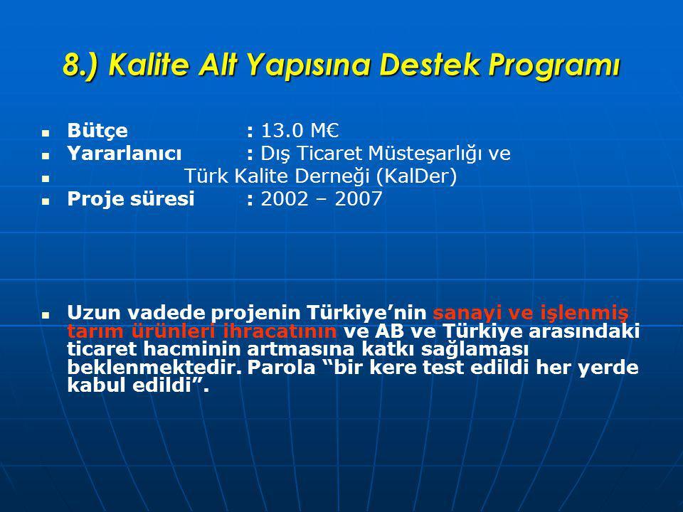 8.) Kalite Alt Yapısına Destek Programı