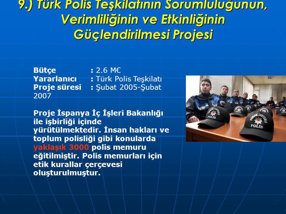 9.) Türk Polis Teşkilatının Sorumluluğunun, Verimliliğinin ve Etkinliğinin Güçlendirilmesi Projesi