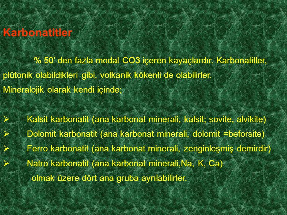 Karbonatitler Mineralojik olarak kendi içinde;