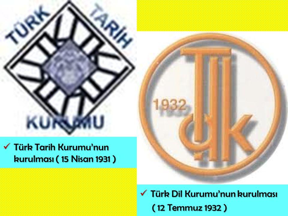 Türk Tarih Kurumu'nun kurulması ( 15 Nisan 1931 )