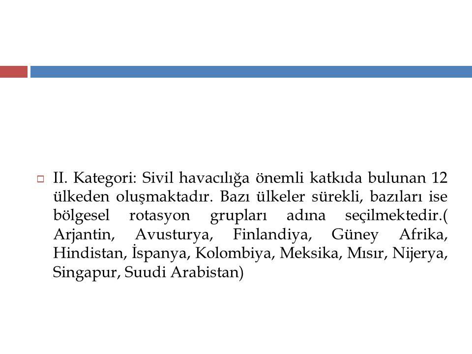 II. Kategori: Sivil havacılığa önemli katkıda bulunan 12 ülkeden oluşmaktadır.