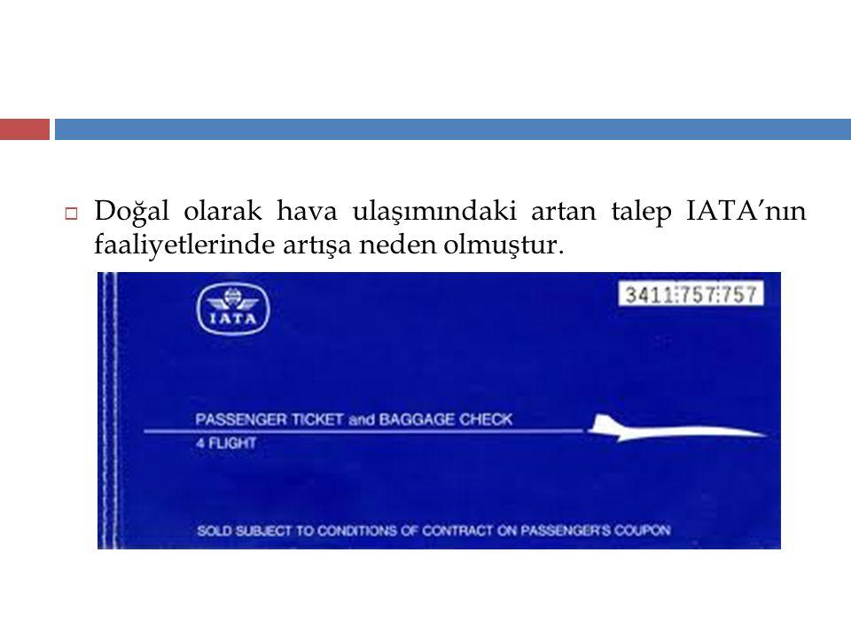 Doğal olarak hava ulaşımındaki artan talep IATA'nın faaliyetlerinde artışa neden olmuştur.