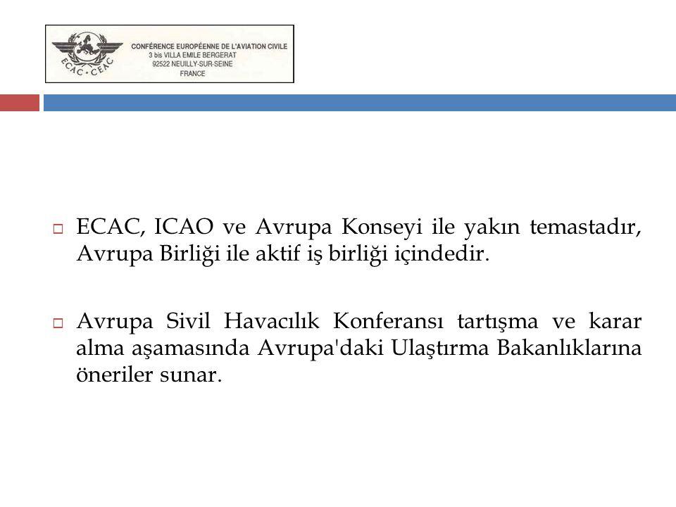 ECAC, ICAO ve Avrupa Konseyi ile yakın temastadır, Avrupa Birliği ile aktif iş birliği içindedir.