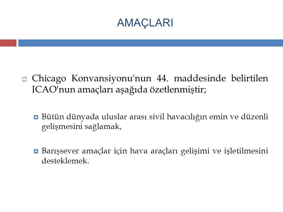 AMAÇLARI Chicago Konvansiyonu nun 44. maddesinde belirtilen ICAO nun amaçları aşağıda özetlenmiştir;