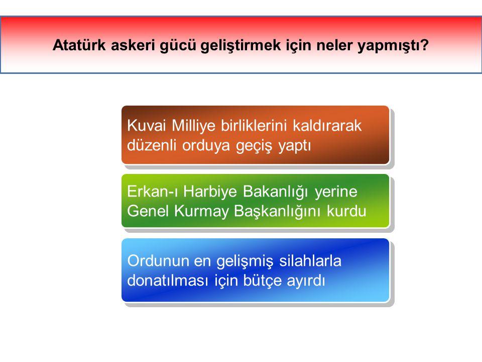 Atatürk askeri gücü geliştirmek için neler yapmıştı