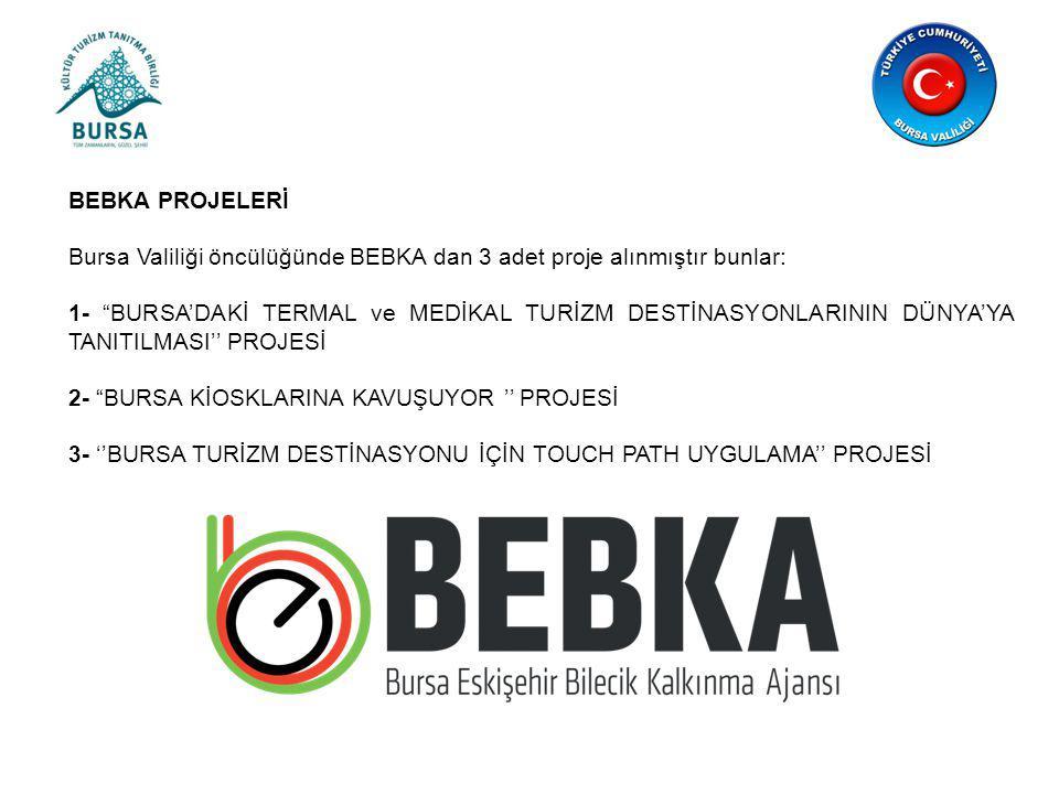 BEBKA PROJELERİ Bursa Valiliği öncülüğünde BEBKA dan 3 adet proje alınmıştır bunlar: