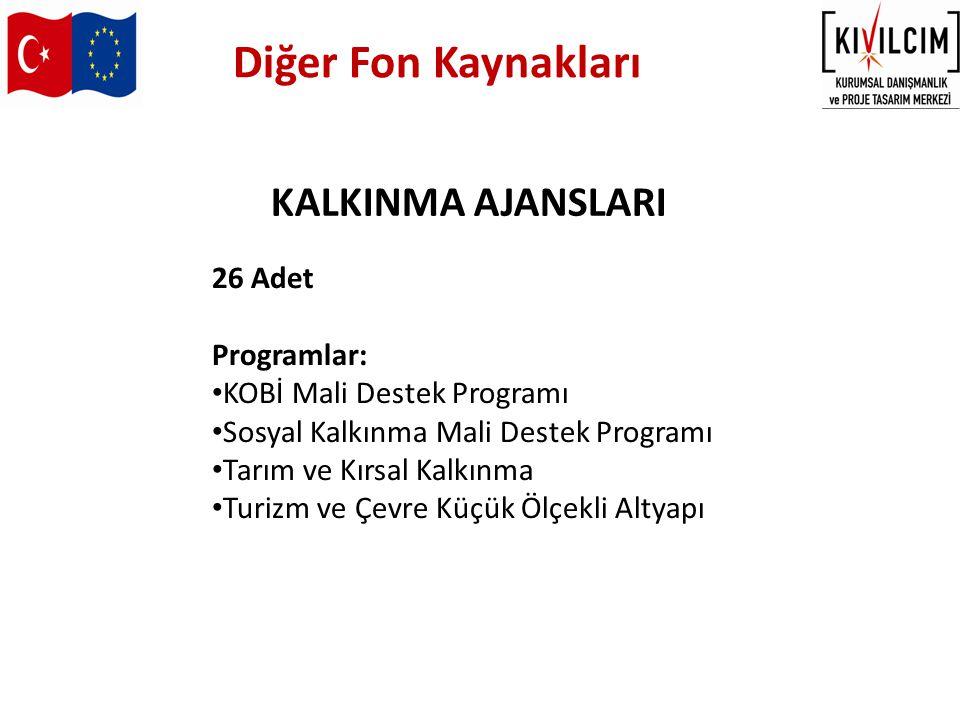 Diğer Fon Kaynakları KALKINMA AJANSLARI 26 Adet Programlar: