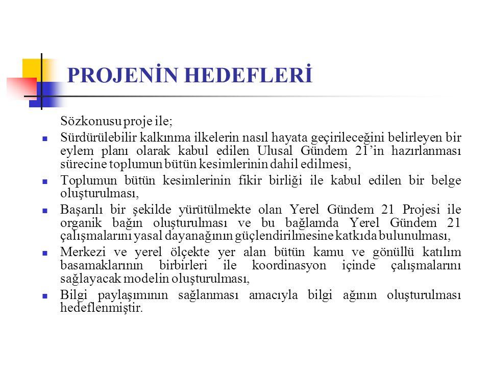PROJENİN HEDEFLERİ Sözkonusu proje ile;