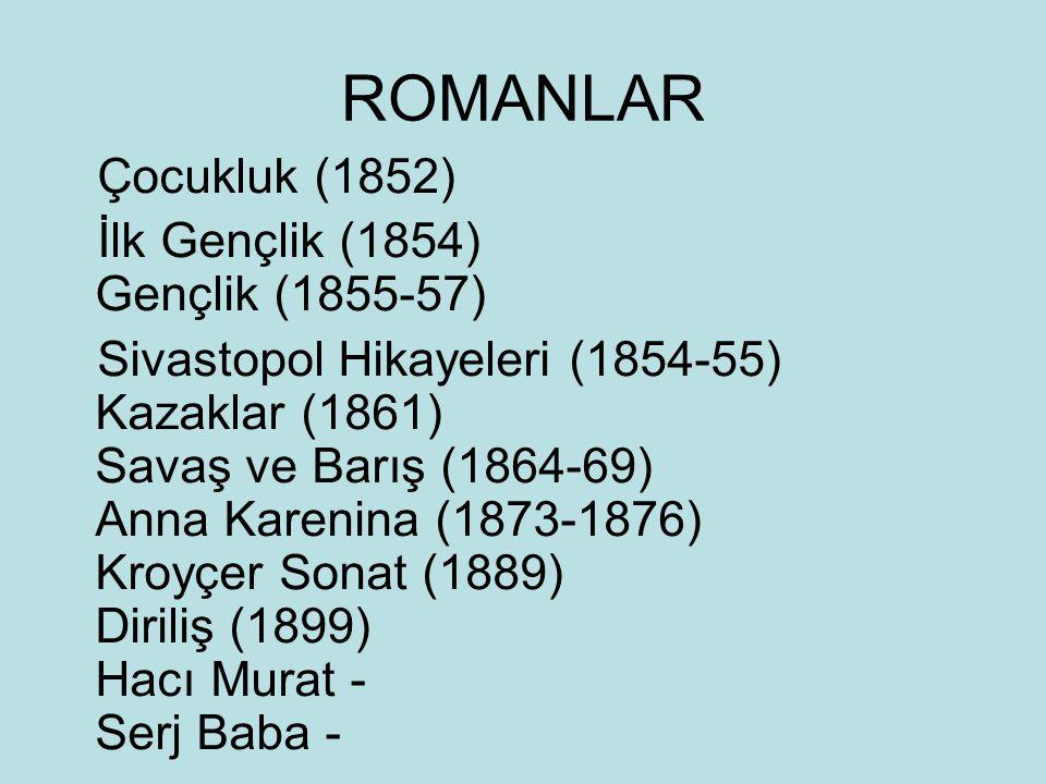 ROMANLAR Çocukluk (1852) İlk Gençlik (1854) Gençlik (1855-57)