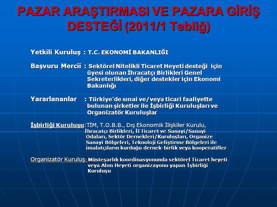 PAZAR ARAŞTIRMASI VE PAZARA GİRİŞ DESTEĞİ (2011/1 Tebliğ)