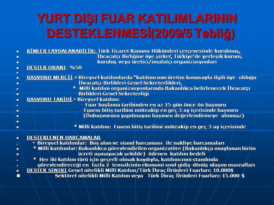 YURT DIŞI FUAR KATILIMLARININ DESTEKLENMESİ(2009/5 Tebliğ)