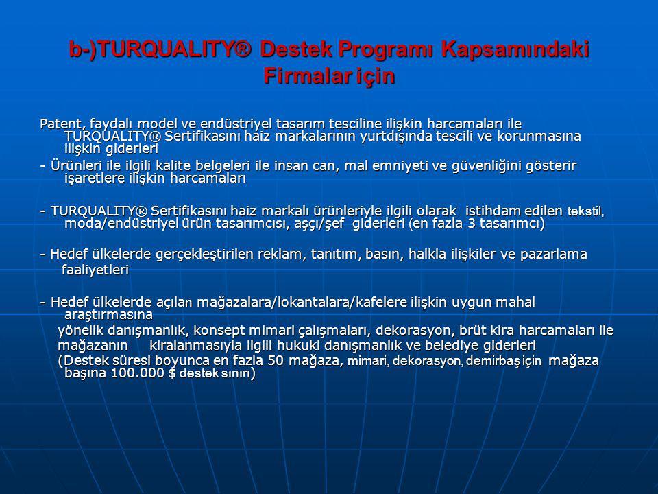 b-)TURQUALITY® Destek Programı Kapsamındaki Firmalar için