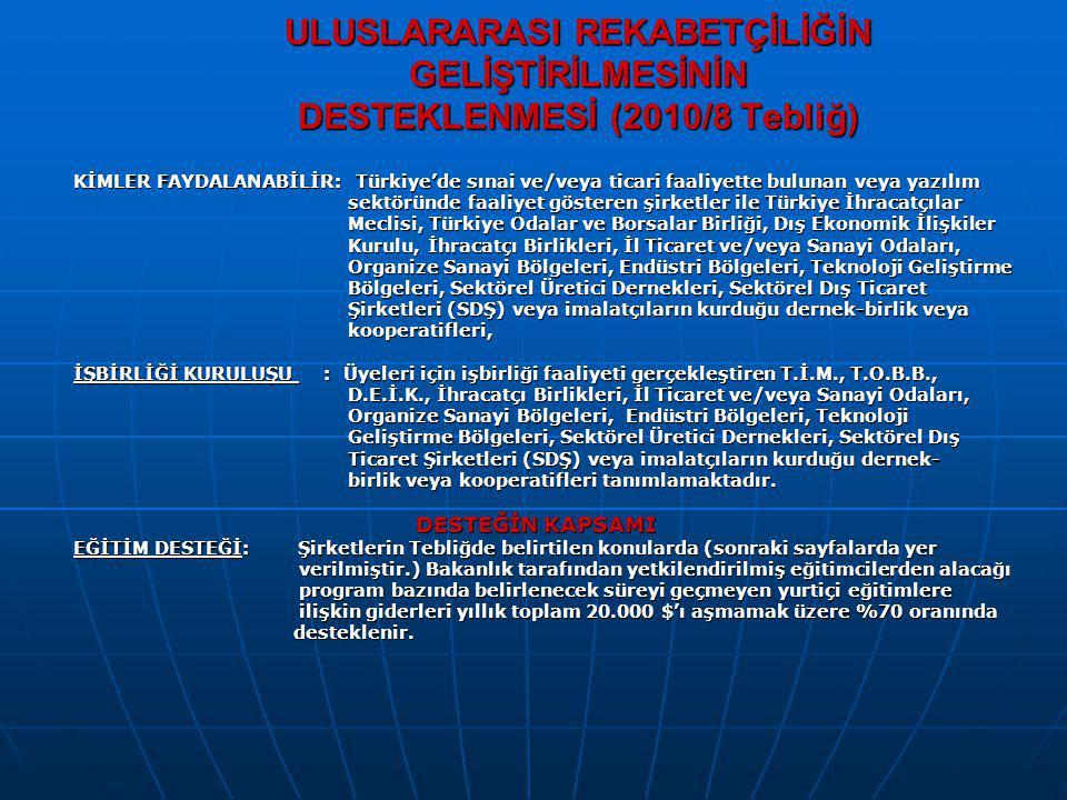 ULUSLARARASI REKABETÇİLİĞİN GELİŞTİRİLMESİNİN DESTEKLENMESİ (2010/8 Tebliğ)