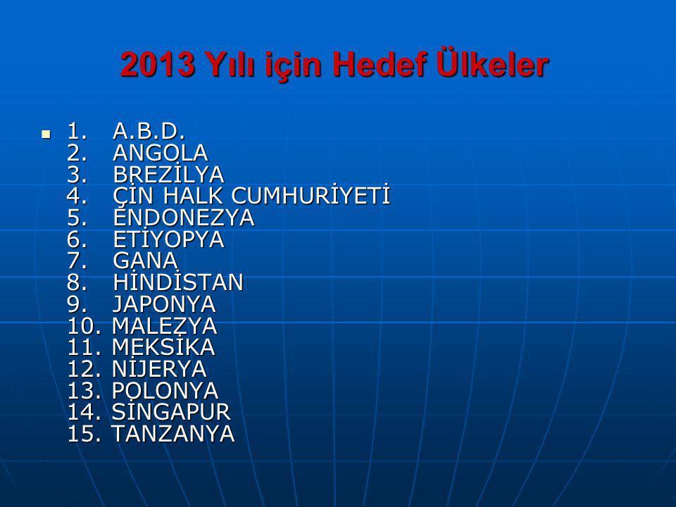 2013 Yılı için Hedef Ülkeler