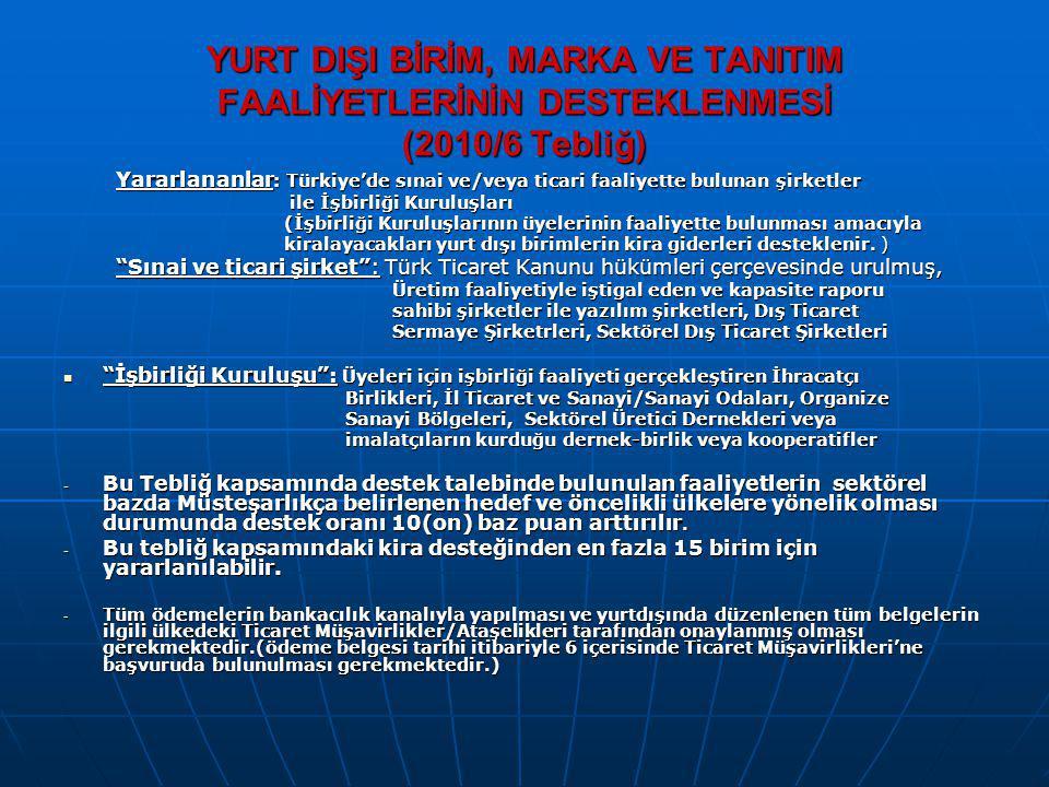 YURT DIŞI BİRİM, MARKA VE TANITIM FAALİYETLERİNİN DESTEKLENMESİ (2010/6 Tebliğ)