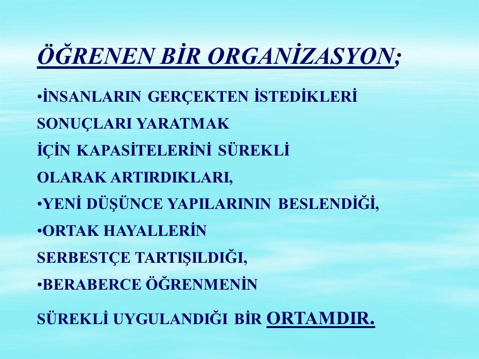 ÖĞRENEN BİR ORGANİZASYON;