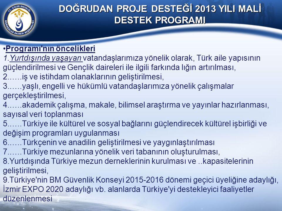 DOĞRUDAN PROJE DESTEĞİ 2013 YILI MALİ DESTEK PROGRAMI