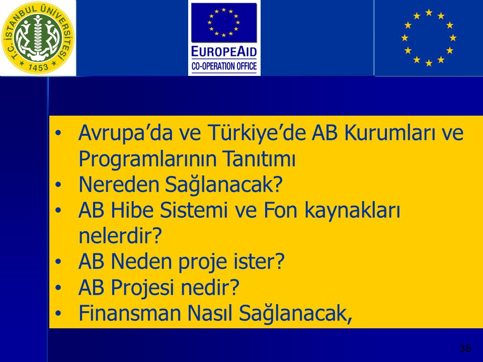 Avrupa'da ve Türkiye'de AB Kurumları ve Programlarının Tanıtımı