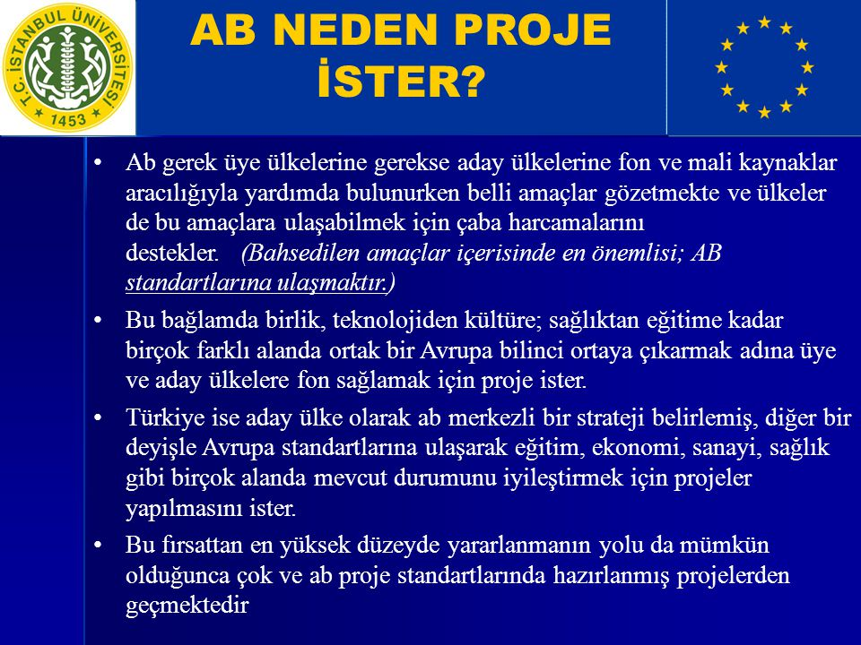 AB NEDEN PROJE İSTER