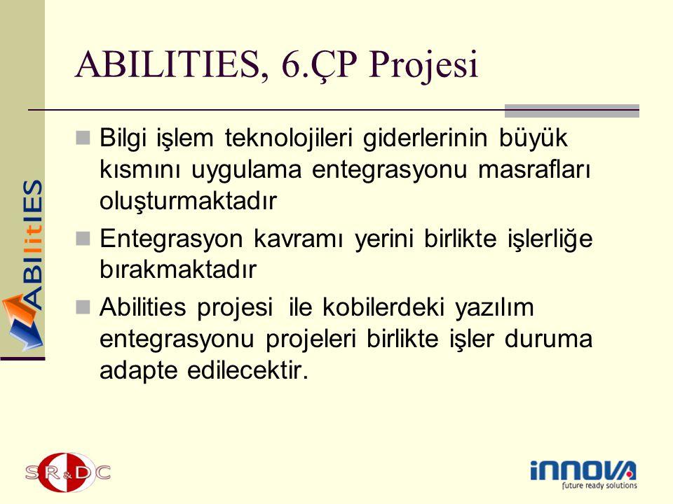 ABILITIES, 6.ÇP Projesi Bilgi işlem teknolojileri giderlerinin büyük kısmını uygulama entegrasyonu masrafları oluşturmaktadır.