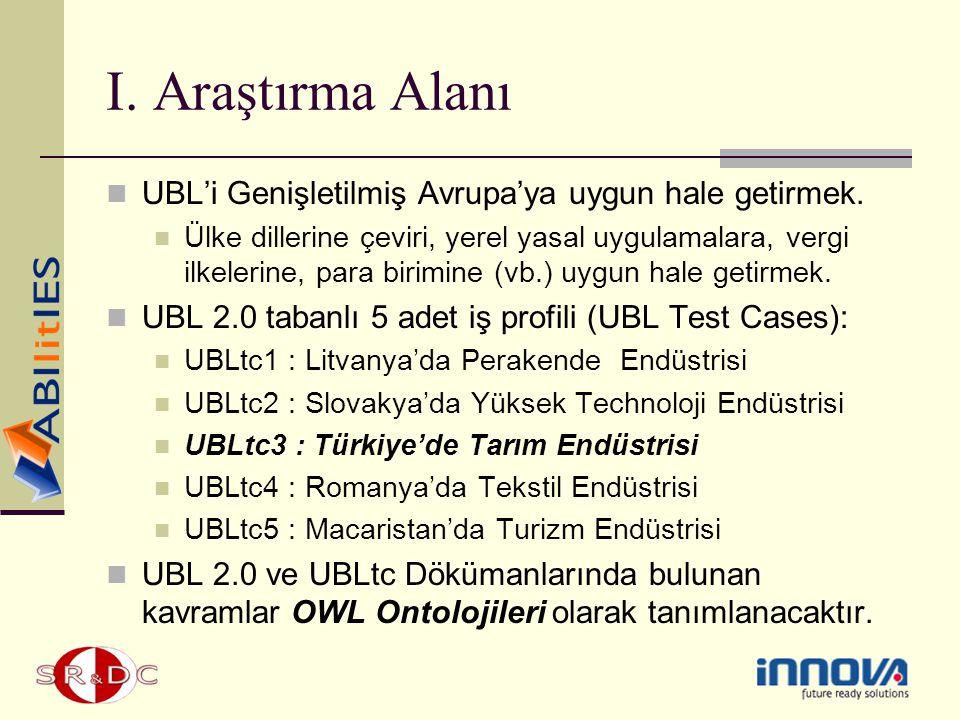 I. Araştırma Alanı UBL'i Genişletilmiş Avrupa'ya uygun hale getirmek.