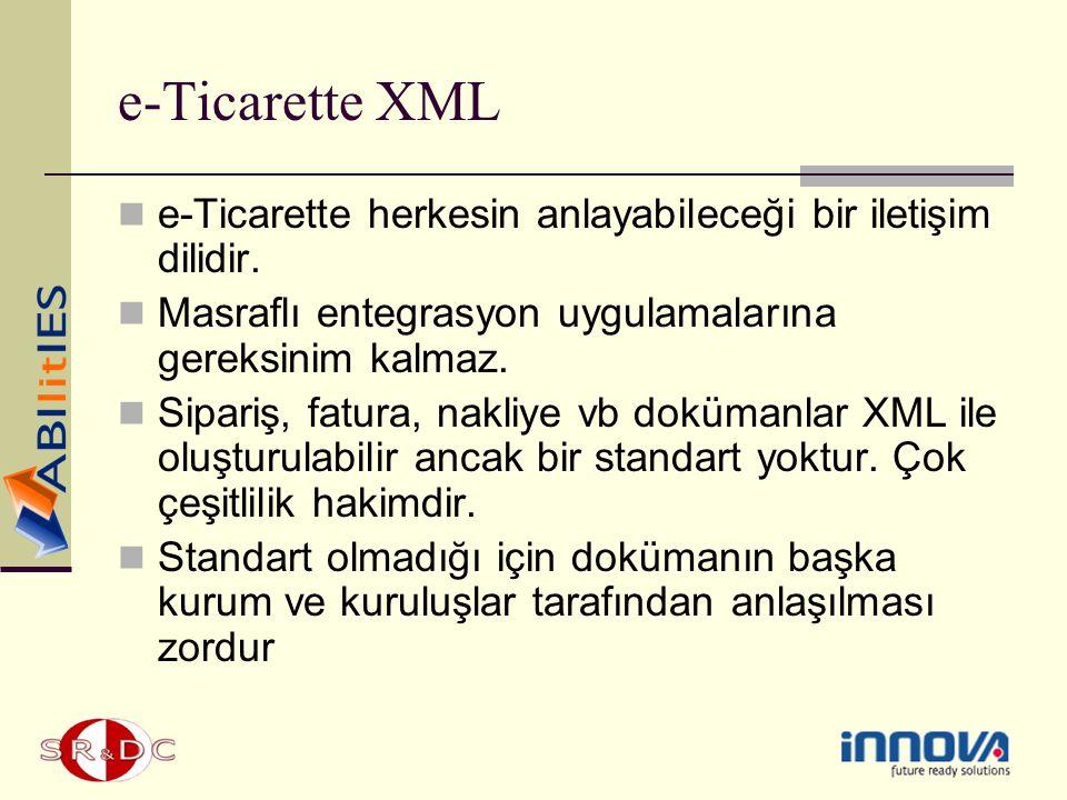 e-Ticarette XML e-Ticarette herkesin anlayabileceği bir iletişim dilidir. Masraflı entegrasyon uygulamalarına gereksinim kalmaz.