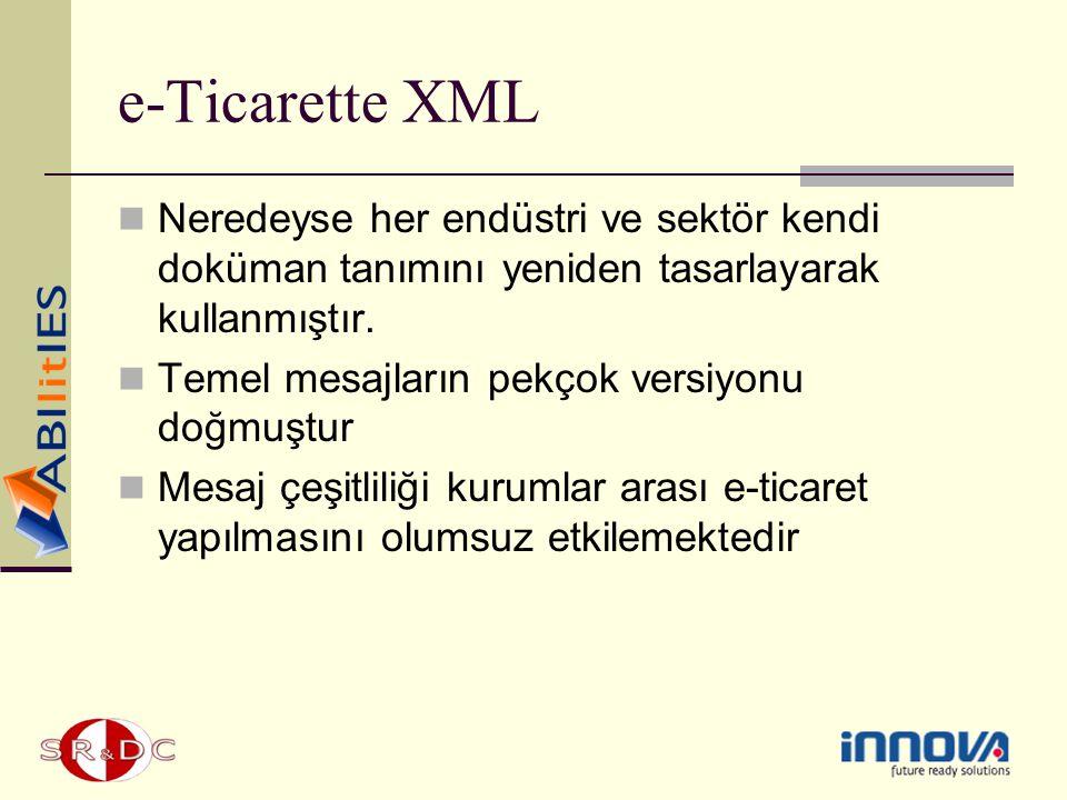 e-Ticarette XML Neredeyse her endüstri ve sektör kendi doküman tanımını yeniden tasarlayarak kullanmıştır.