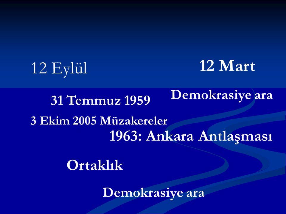 12 Mart 12 Eylül 1963: Ankara Antlaşması Ortaklık Demokrasiye ara