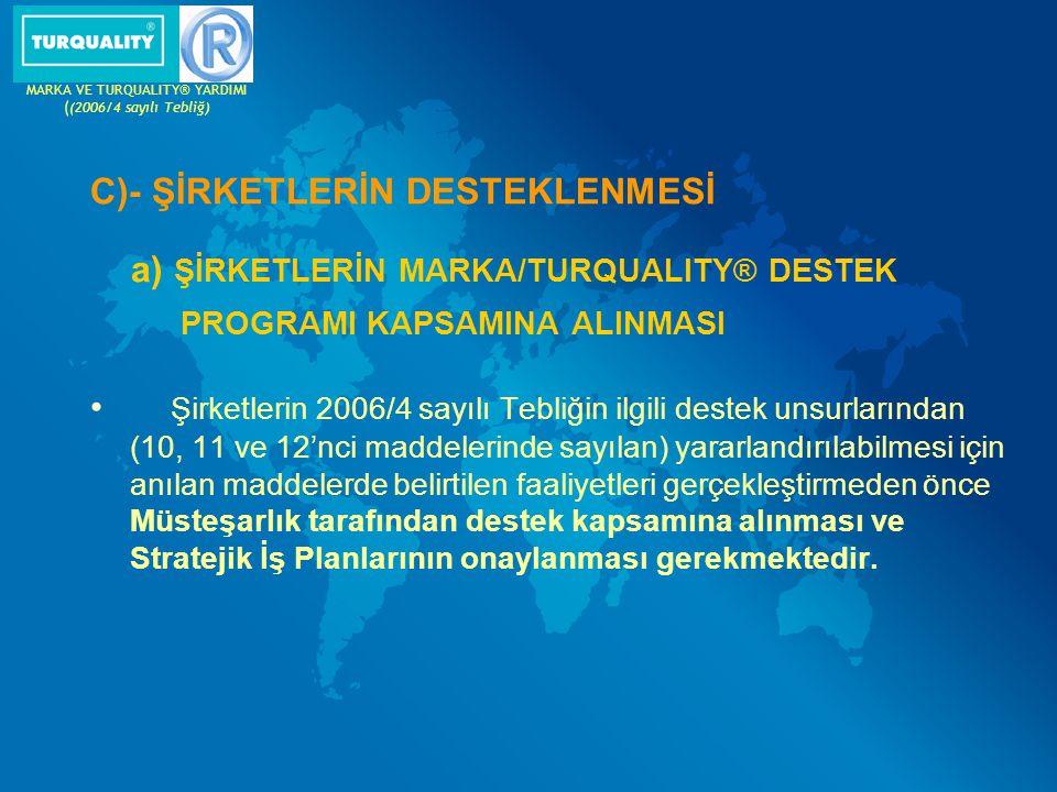 MARKA VE TURQUALITY® YARDIMI ((2006/4 sayılı Tebliğ)
