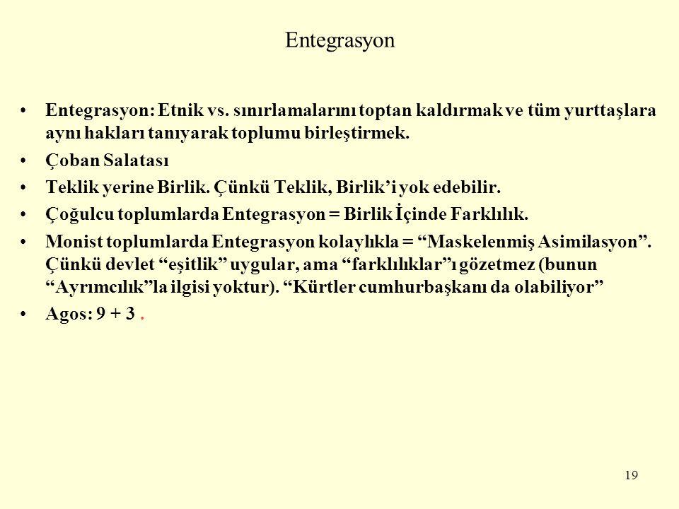 Entegrasyon Entegrasyon: Etnik vs. sınırlamalarını toptan kaldırmak ve tüm yurttaşlara aynı hakları tanıyarak toplumu birleştirmek.
