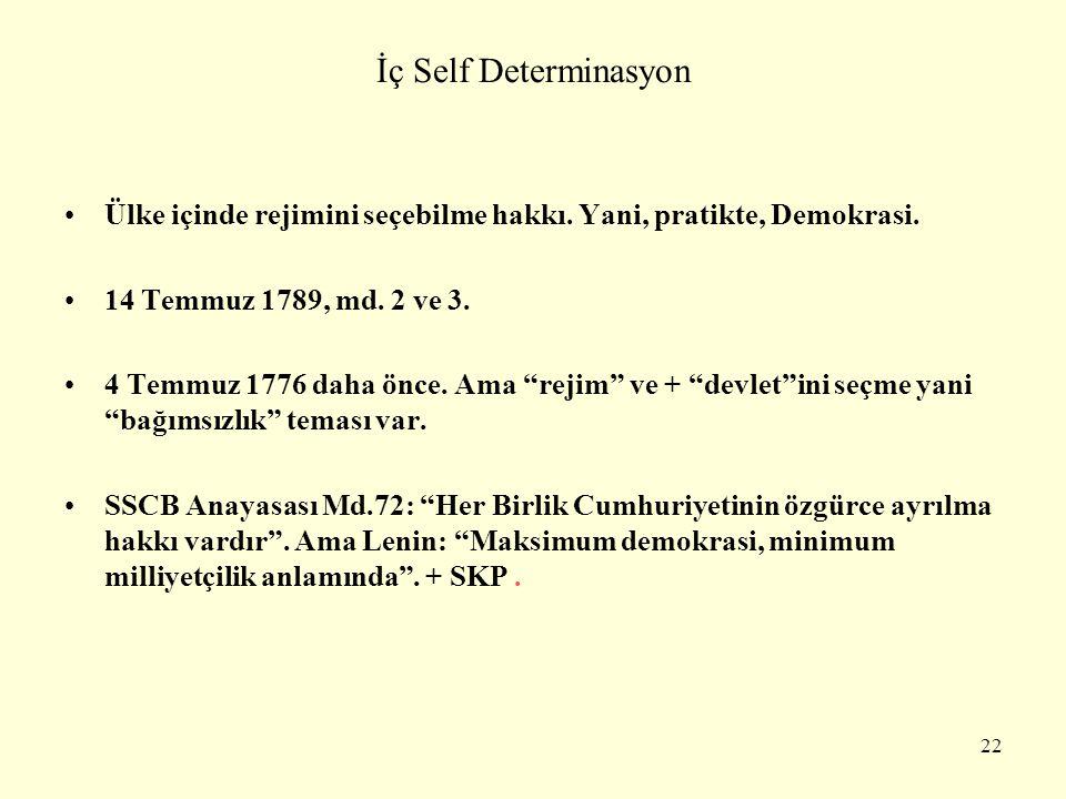 İç Self Determinasyon Ülke içinde rejimini seçebilme hakkı. Yani, pratikte, Demokrasi. 14 Temmuz 1789, md. 2 ve 3.