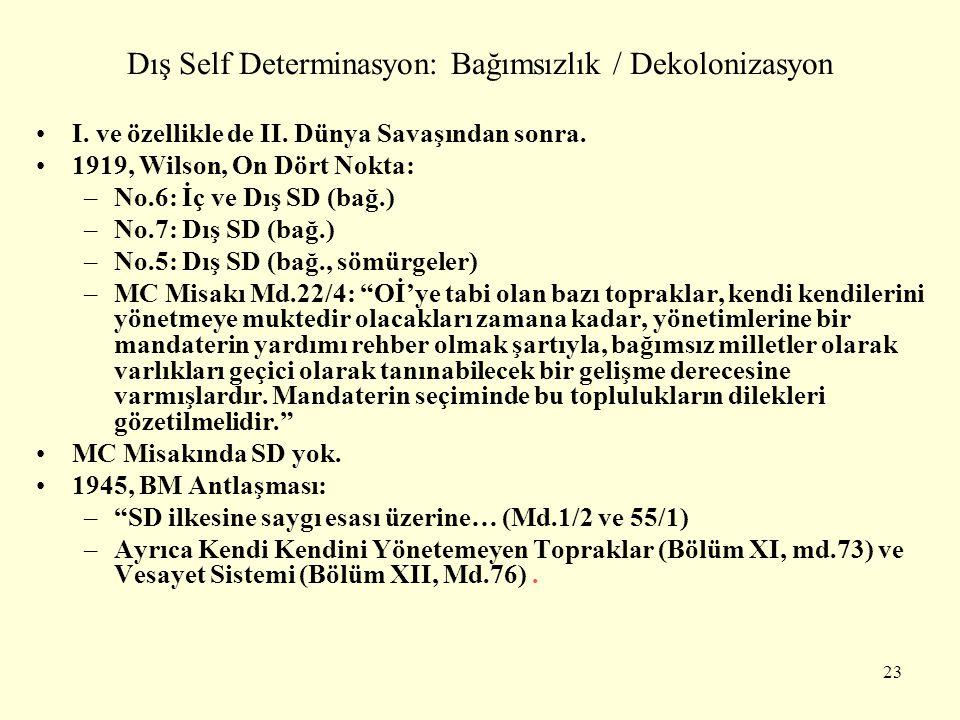 Dış Self Determinasyon: Bağımsızlık / Dekolonizasyon