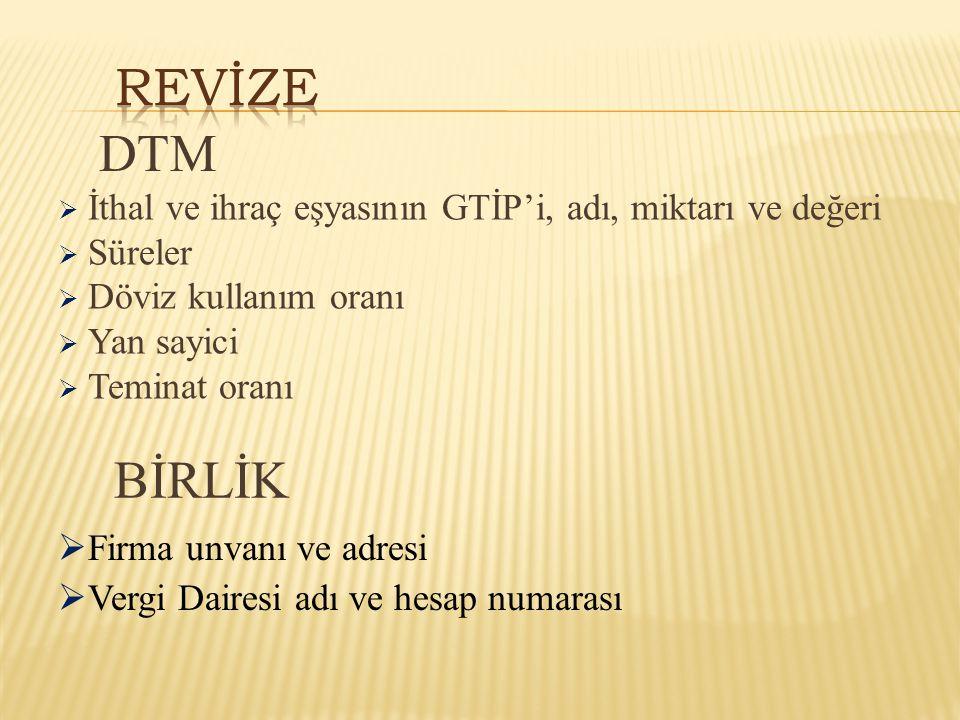 REVİZE DTM. İthal ve ihraç eşyasının GTİP'i, adı, miktarı ve değeri. Süreler. Döviz kullanım oranı.