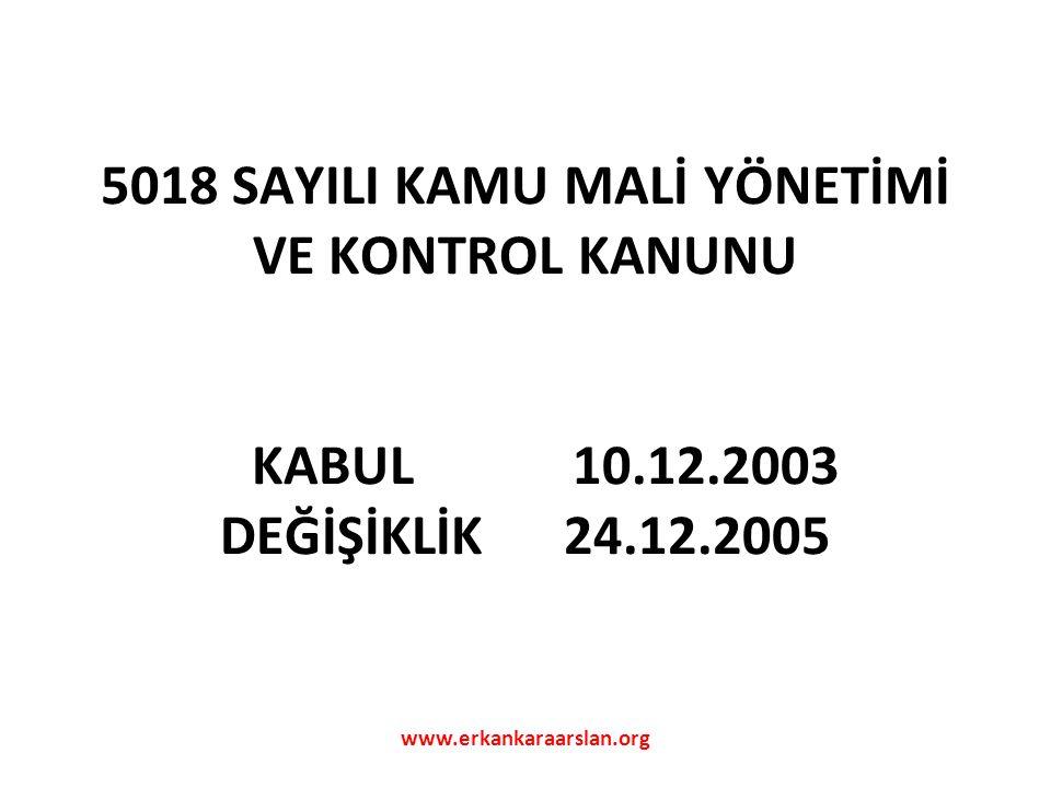 5018 SAYILI KAMU MALİ YÖNETİMİ VE KONTROL KANUNU KABUL 10. 12