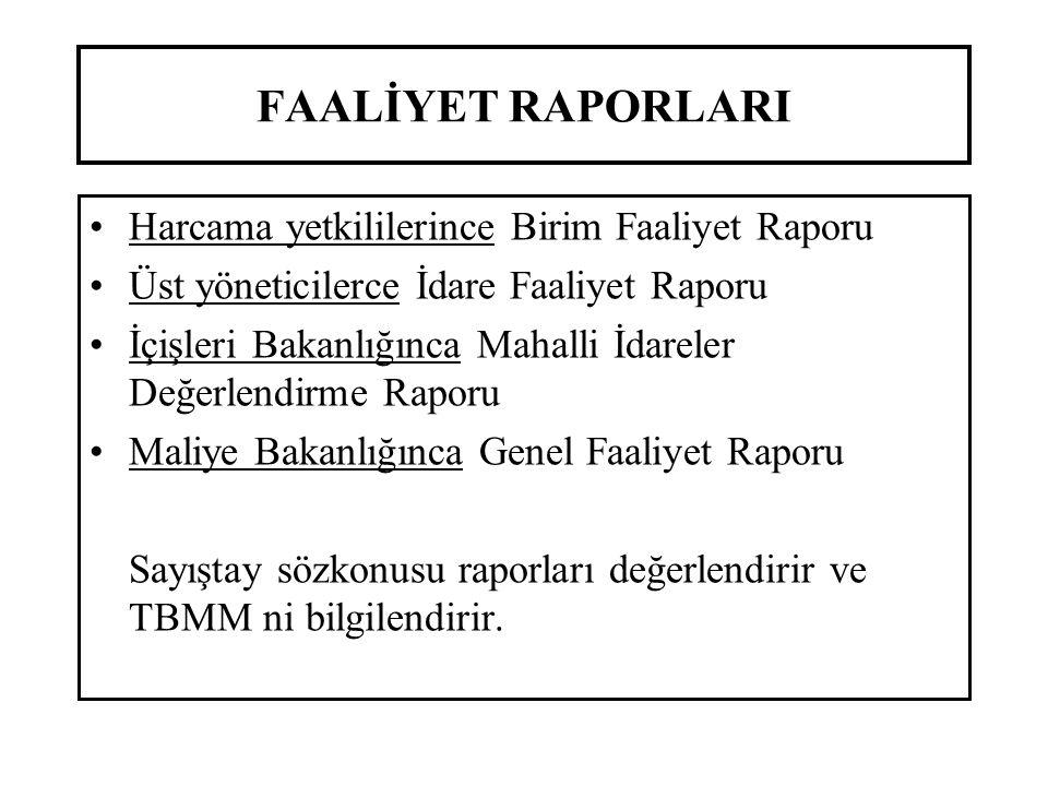 FAALİYET RAPORLARI Harcama yetkililerince Birim Faaliyet Raporu