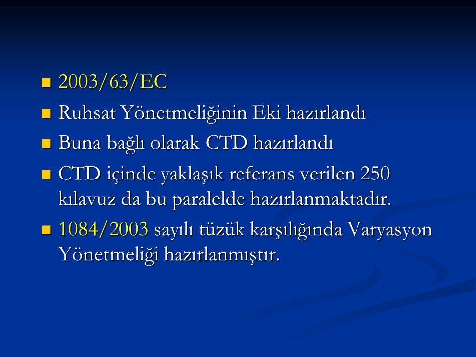 2003/63/EC Ruhsat Yönetmeliğinin Eki hazırlandı. Buna bağlı olarak CTD hazırlandı.