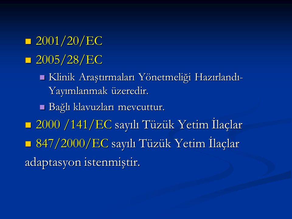 2000 /141/EC sayılı Tüzük Yetim İlaçlar