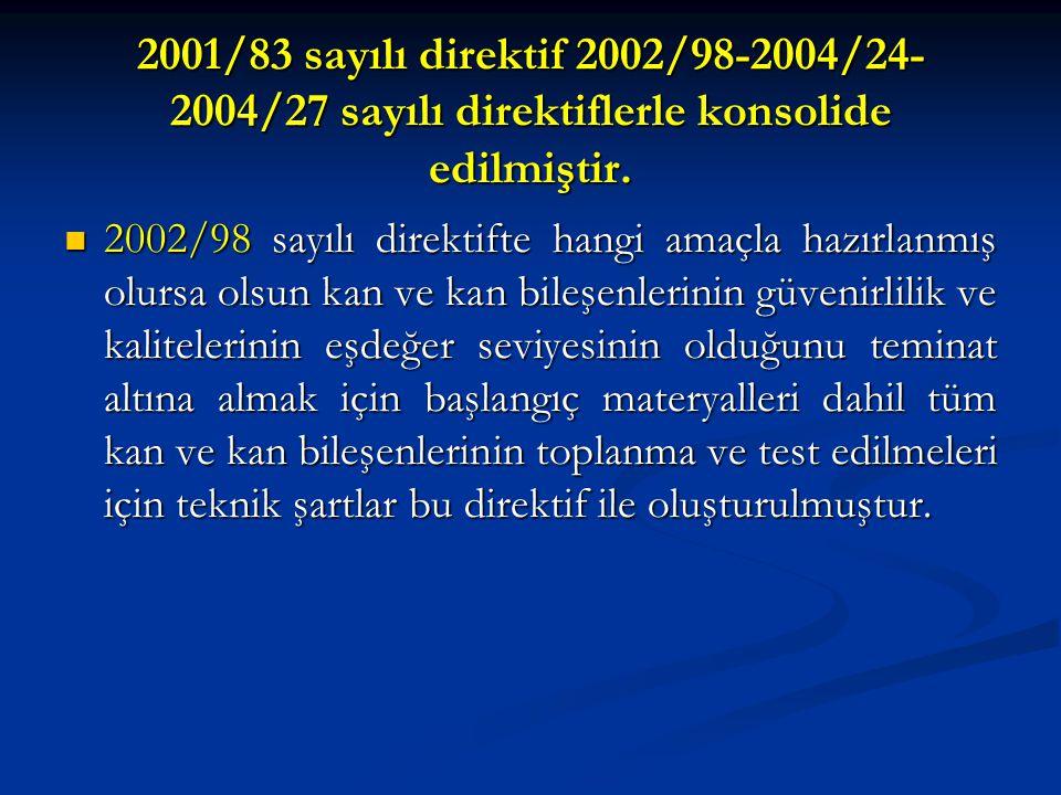 2001/83 sayılı direktif 2002/98-2004/24- 2004/27 sayılı direktiflerle konsolide edilmiştir.