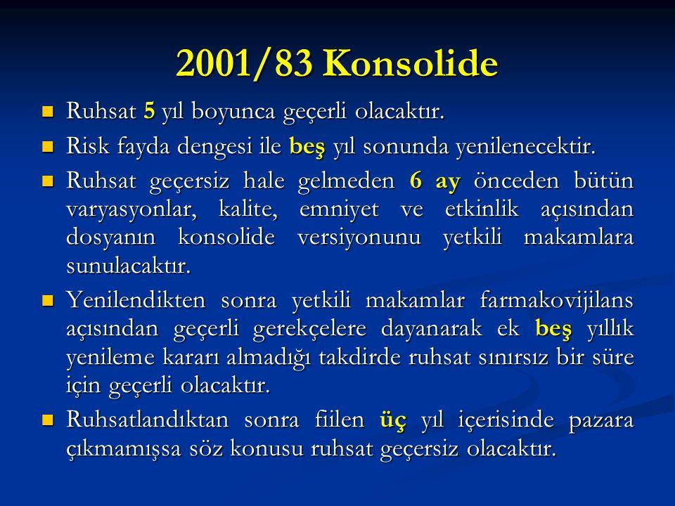 2001/83 Konsolide Ruhsat 5 yıl boyunca geçerli olacaktır.
