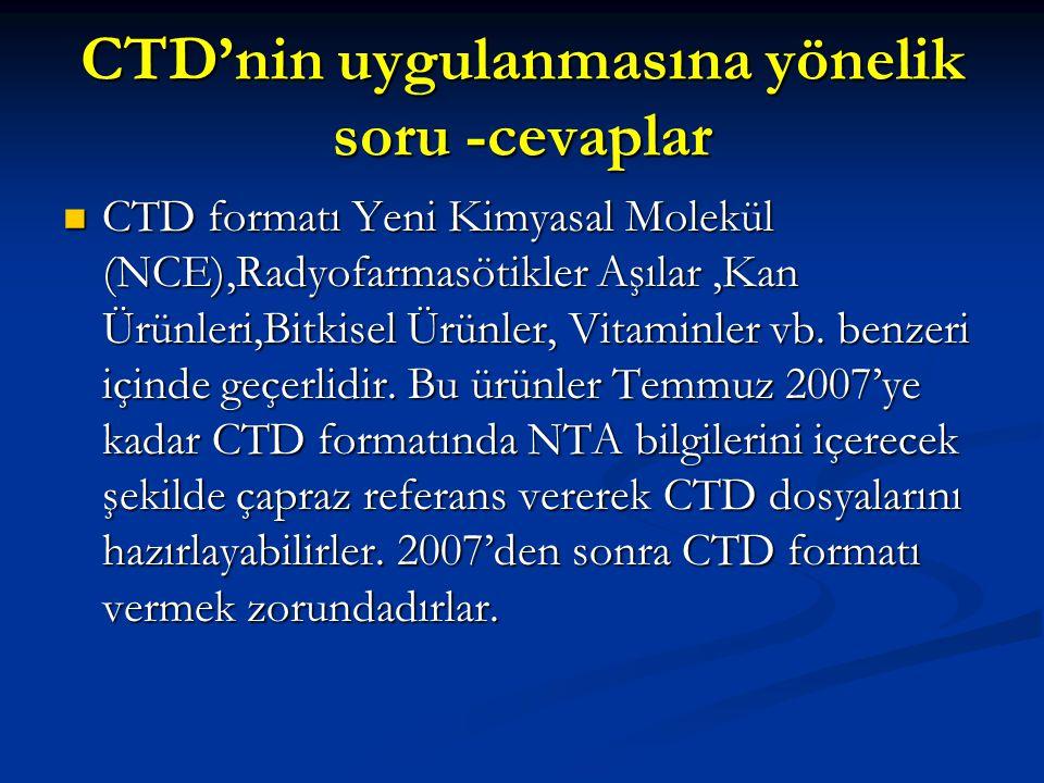 CTD'nin uygulanmasına yönelik soru -cevaplar