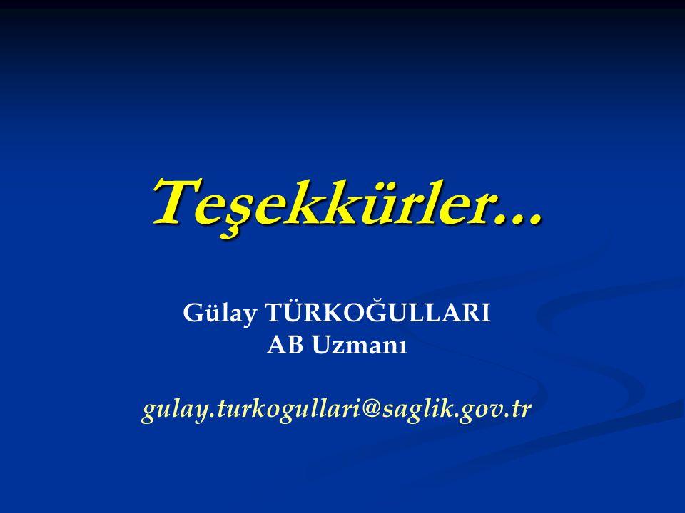 Gülay TÜRKOĞULLARI AB Uzmanı gulay.turkogullari@saglik.gov.tr
