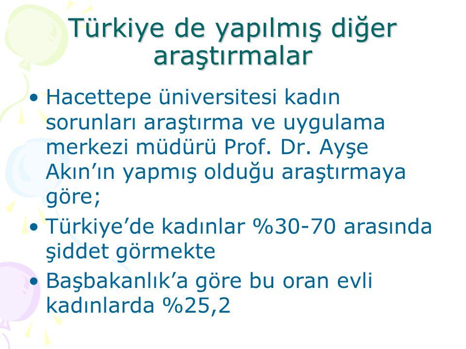 Türkiye de yapılmış diğer araştırmalar