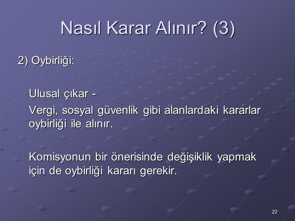 Nasıl Karar Alınır (3) 2) Oybirliği: Ulusal çıkar -