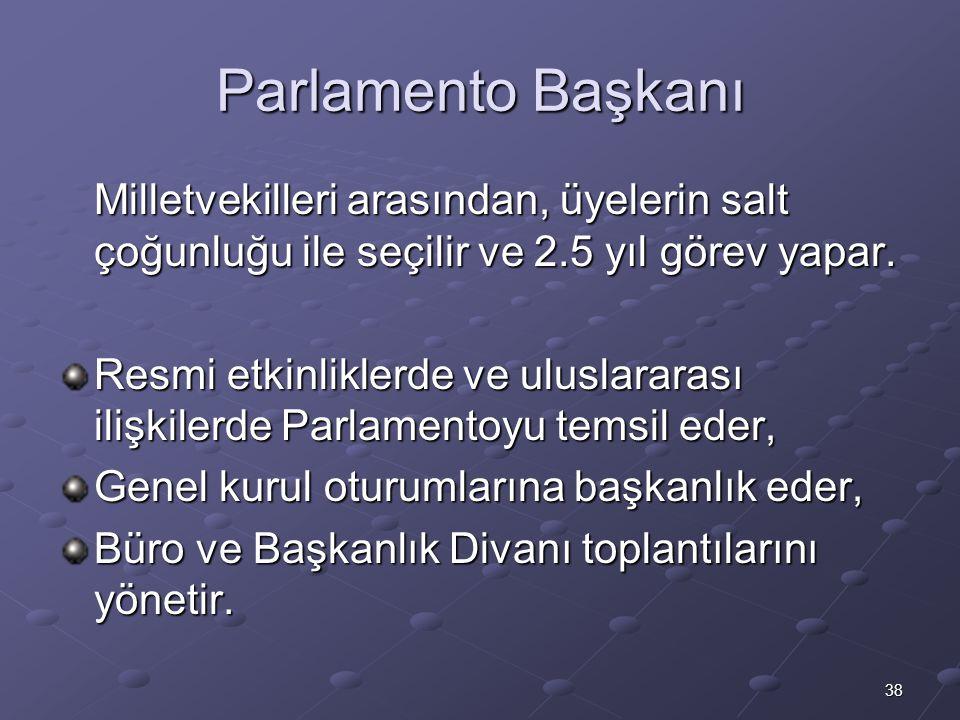 Parlamento Başkanı Milletvekilleri arasından, üyelerin salt çoğunluğu ile seçilir ve 2.5 yıl görev yapar.
