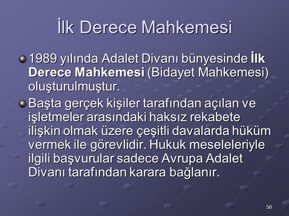 İlk Derece Mahkemesi 1989 yılında Adalet Divanı bünyesinde İlk Derece Mahkemesi (Bidayet Mahkemesi) oluşturulmuştur.