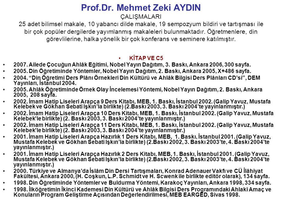 Prof.Dr. Mehmet Zeki AYDIN ÇALIŞMALARI 25 adet bilimsel makale, 10 yabancı dilde makale, 19 sempozyum bildiri ve tartışması ile bir çok popüler dergilerde yayımlanmış makaleleri bulunmaktadır. Öğretmenlere, din görevlilerine, halka yönelik bir çok konferans ve seminere katılmıştır.