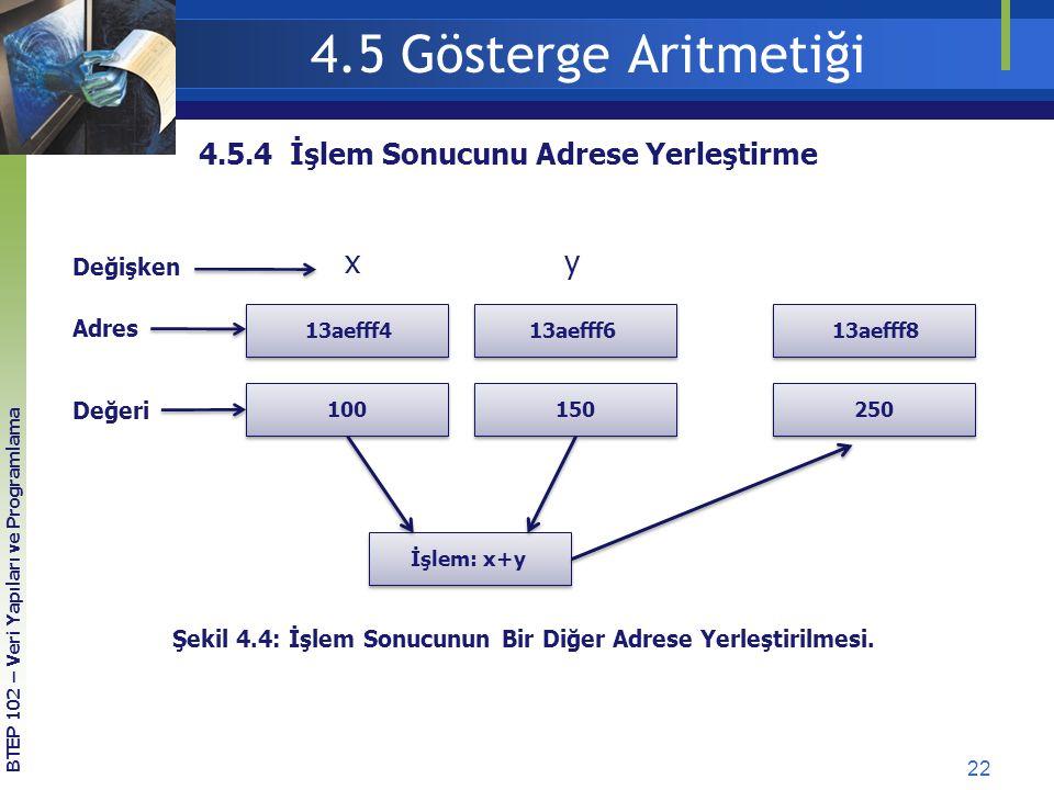 4.5 Gösterge Aritmetiği x y 4.5.4 İşlem Sonucunu Adrese Yerleştirme