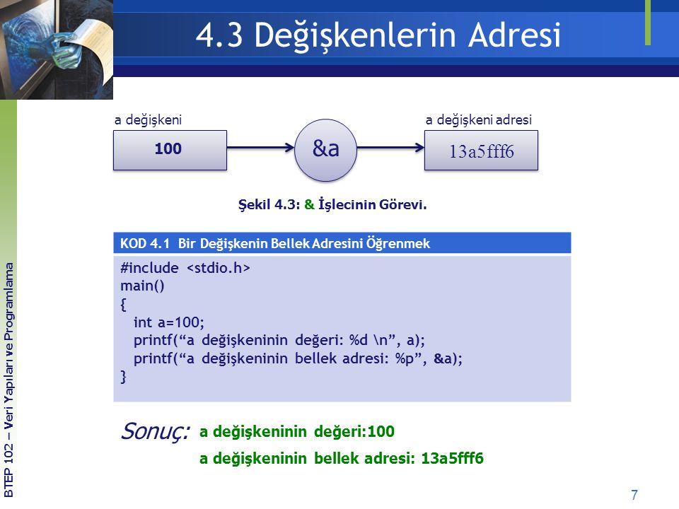 4.3 Değişkenlerin Adresi &a Sonuç: 13a5fff6 #include <stdio.h>