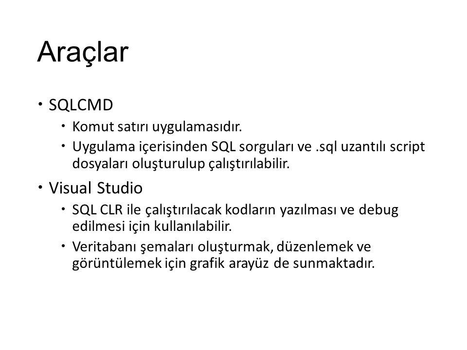 Araçlar SQLCMD Visual Studio Komut satırı uygulamasıdır.