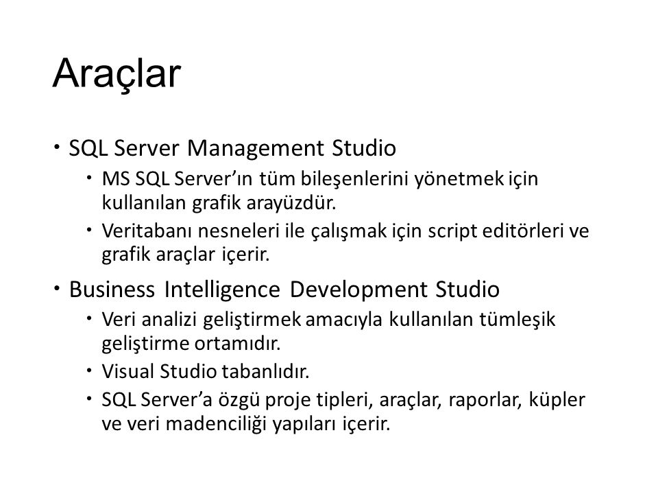 Araçlar SQL Server Management Studio